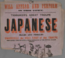 Will appear and perform in this town. Tannaker's Great Troupe of Japanese Males and Females. Positively the only visit...